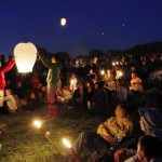 The lanterns go off at Stone Circle, Glastonbury